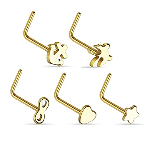 L-Shaped Nose Ring Pack Steel Goldtone 5 Pieces