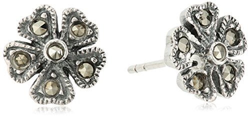 Sterling Silver Flower Design with Marcasite Stud Earrings (Silver Marcasite Flower Earrings)