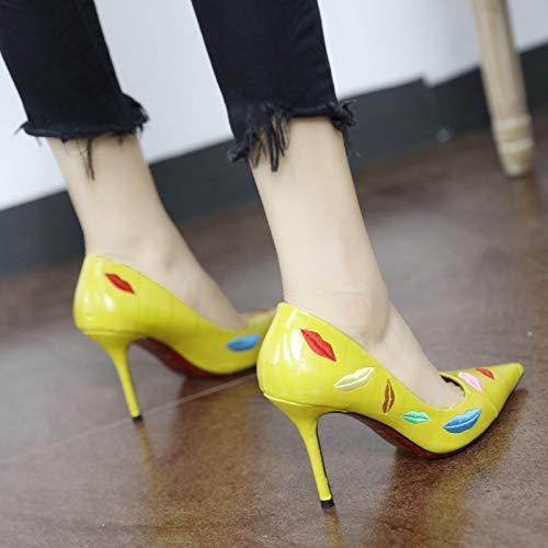 Scarpe di YMFIE temperamento ricamata ricamo con B alto moda spillo tacco sexy punta a a qZxgfdYxrw