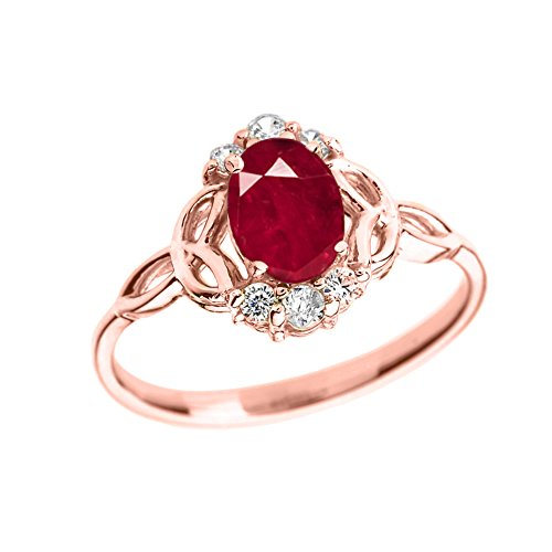 Gold Genuine Ruby Ring - Elegant 14k Rose Gold Diamond Trinity Knot Proposal Ring with Genuine Ruby (Size 7)
