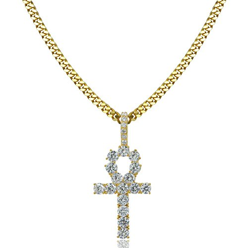 TOPGRILLZ 14K Gold plated Micro Pave Egyptian Ankh Cross Pendant 24
