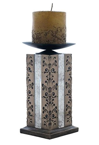 7.75 Inch Abbey Candle Holder 27 Cm Including Candle Black Filigree ()
