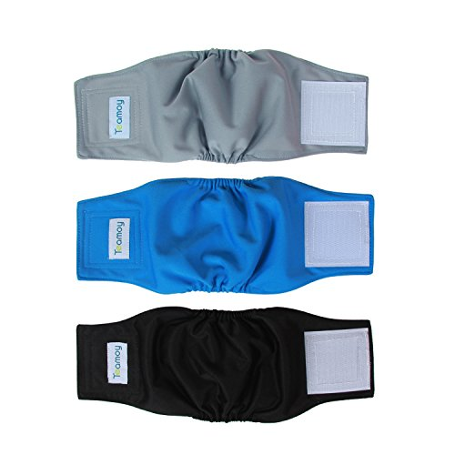 Teamoy Reusable Wrap Diapers for Male Dogs, Washable Puppy Belly Band Pack of 3 (XS, 7''-9''Waist, Black+ Gray+ Lake ()
