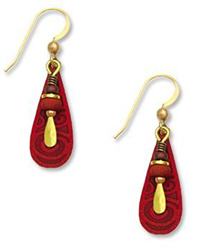 Pewter Filigree Bead - Deep Red Teardrop Gold-tone Earrings Accent Beads Made in USA by Adajio Sienna Sky 7006