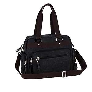 Canvas Weekender Bag Bolsas De Viaje Unisex Travel Holdall Handbag Bolsa De Trabajo Bandolera,Black