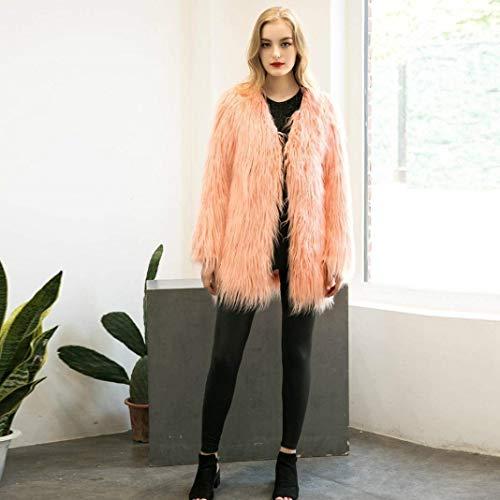 Fashion Ropa Color Cómodo Party Mujer Falsa Invierno Elegante Sólido Relaxed Grandes Abrigos Outerwear Caliente Tallas Adelina Piel Chaqueta Rosa Parkas T7n8UZ