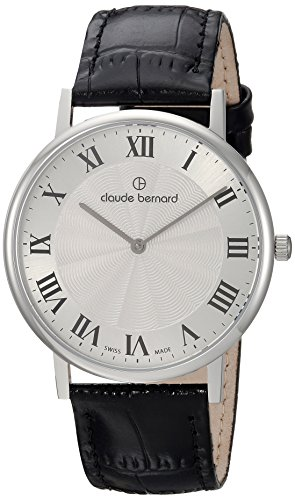 Claude Bernard Mens 20214 3 AR Slim Line Analog Display Swiss Quartz Black Watch