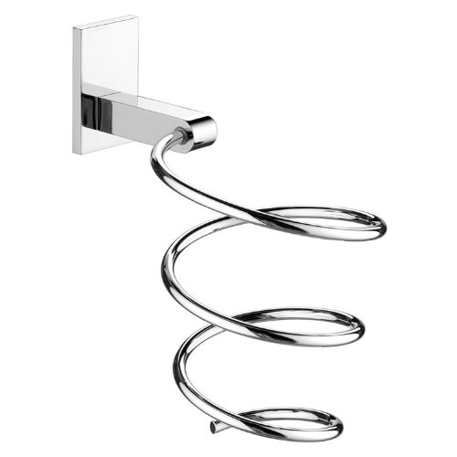 Gedy Hairdryer Supports Wall Mounted Spiral Hair Dryer Holder, Chrome, Large