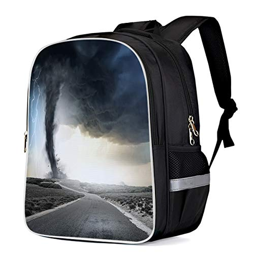 Unisex Durable School Backpack- Tornado with Lightning, Lightweight Oxford Fabric School Bags with Reflective Strip Daypack Laptop -