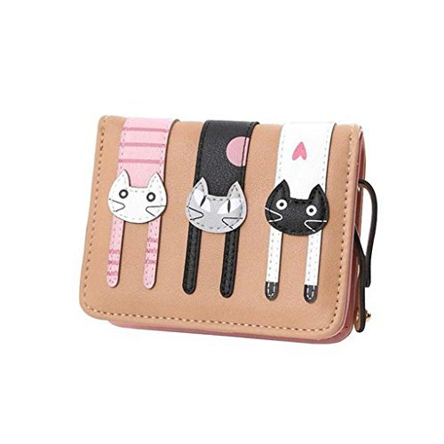 Mini Faux Leather Bifold Cute 3 Cat Zipeer Clutch Wallet Handbag for Women Girls