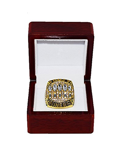 SAN FRANCISCO 49ERS (Steve Young) 1994 SUPER BOWL XXIX WORLD CHAMPIONS Vintage Rare & Collectible Replica NFL Gold Championship Ring with Cherrywood Display Box