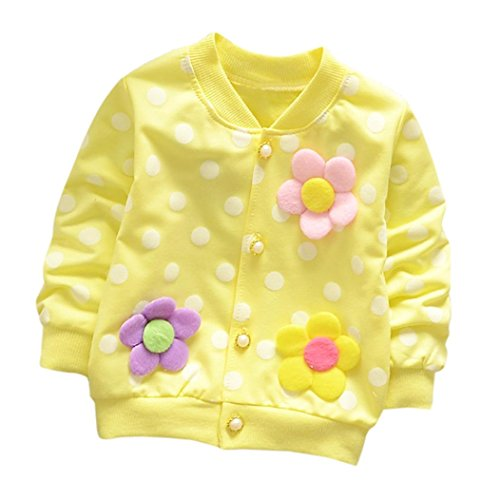 Dot Flower Girl - Sunbona Toddler Baby Boys Girls Spring Autumn Jacket Outwear Kids Flower Dot Cardigan Coat Clothes (Yellow, 3T(2~3years))