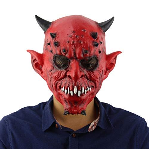 Novelty Halloween Costume Party Latex Mask Hell Night Fork Horns Horny Horror Mask -