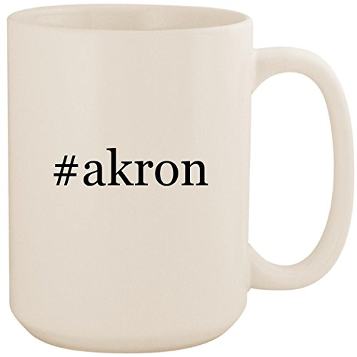 #akron - White Hashtag 15oz Ceramic Coffee Mug Cup (Duck Ca Chat)