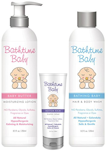 (Bathtime Baby Natural Skin Care Starter Set: Baby Butter Moisturizing Lotion, Bottom Balm Diaper Creme, Bathing Baby Shampoo & Body Wash | Hypoallergenic, Safe & Gentle. No Toxins or Harsh Chemicals)