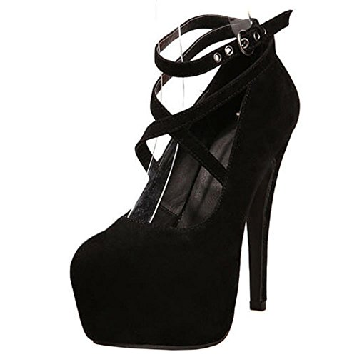 COOLCEPT Mujer Clasico Mary Janes Criss Cross Al Tobillo Tacon De Aguja Bombas Zapatos High Plataforma Negro