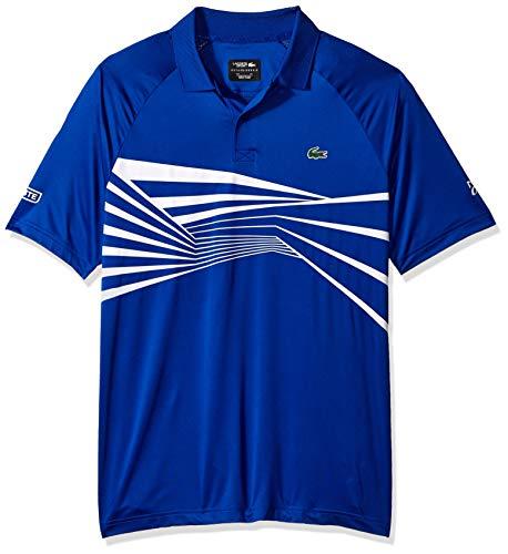 (Lacoste Men's Sport DJOVOKIC Short Sleeve Ultra Dry Graphic Polo, Steamer/White, Medium)