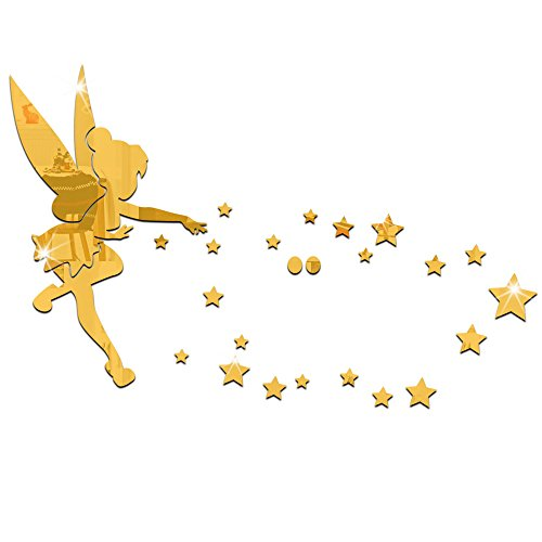 26pcs/set Tinkerbell Fairy Wall Mirror Acrylic Mirrored Decorative Tinker bell Wall stickers Home Decoration (golden) by MEYA