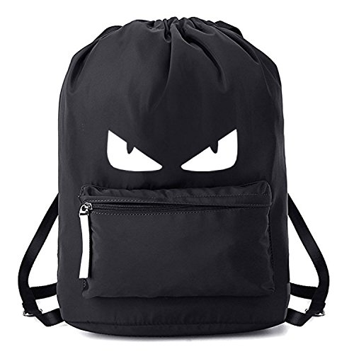 Drawstring Bags Gymsack Students Backpack Unisex College School Style Sport Gym Yoga (Black)
