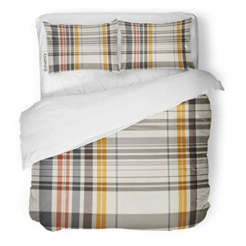 Tarolo Bedding Duvet Cover Set Pattern Abstract Colorful Check Checkered Plaid Tattersall Line Color 3 Piece Queen 90