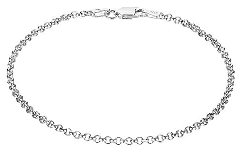 Small 2.2mm 925 Sterling Silver Nickel-Free Italian Rolo Chain Bracelet, 8 inches + Cleaning Cloth