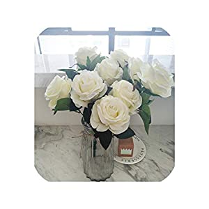 loveinfinite 9 Heads/Bouquet Artificial Silk Decorative Rose Flower for Wedding Party Decoration Bouquet 7 Colors Home Decoration,White 1 112