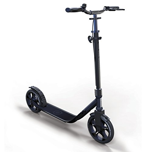Globber Adult One Second Folding Adjustable Height Scooter with 230mm Wheels (Titanium Blue)