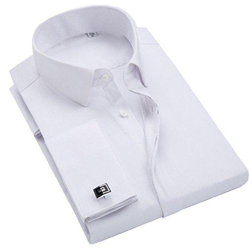 sweattang New Mens Formal Dress Italian Designer Luxury with Cufflinks Dress Shirts (White, L)