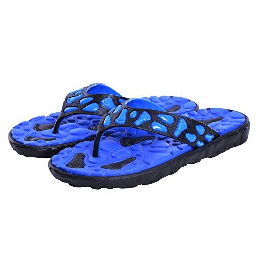 Flip Flops Menn Utendørs Lette Tøfler Komfort Massasje Strand Thongs Sandaler Blå