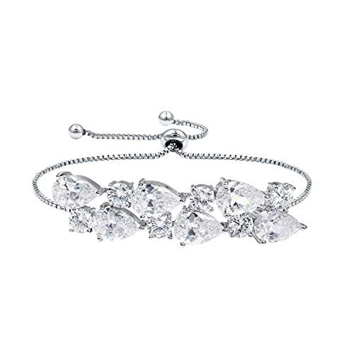 WeimanJewelry White Gold Plated Cubic Zirconia CZ Vintage Dual Layer Teardrop Adjustable Pear Bracelet for Women or Bride