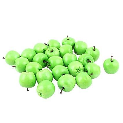 eDealMax Fake Plastic Cocina Mesa Artificial fruta de Apple Decor 24 piezas Verde