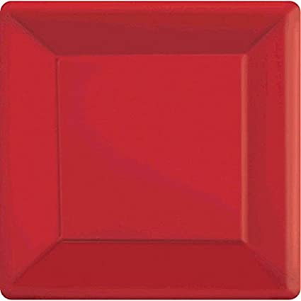 Amscan Party Perfect Vibrant Square Dinner Plates Tableware Apple Red paper 10u0026quot; & Amazon.com: Amscan Party Perfect Vibrant Square Dinner Plates ...