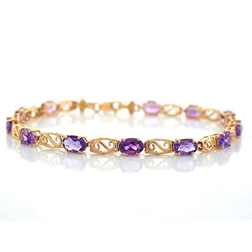 10k Amethyst Bracelet (10k Yellow Gold Natural Amethyst Swirling Filigree Design Ladies Bracelet)