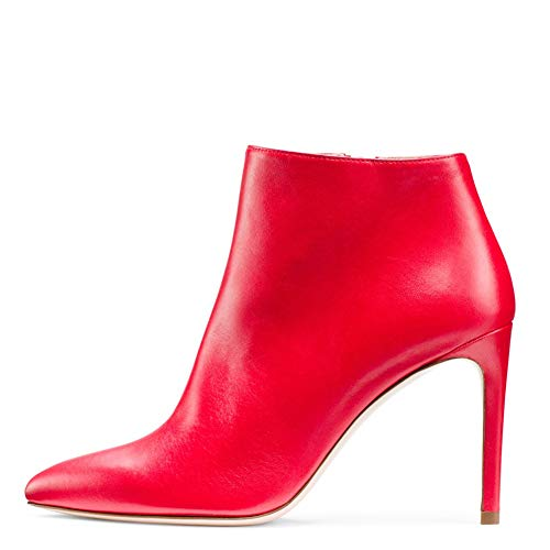 Amazon.com: JISS Womens PU Pointed Zipper Manual Pump Ankle Boots Red: Sports & Outdoors