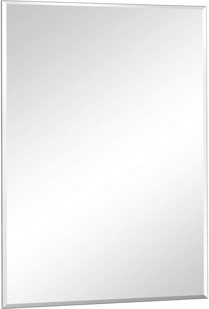 DH Large Frameless Wall Mirror,36x24 Inch Bathroom Mirror Horizontal & Vertical Hanging 1 Inch Bevel Mirror Premium Wall-Mounted Mirrors for Bedroom Living Room Home Wall Decor Mirrors