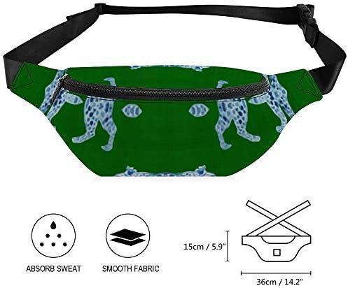 緑のヒョウパレードブルー ウエストバッグ ショルダーバッグチェストバッグ ヒップバッグ 多機能 防水 軽量 スポーツアウトドアクロスボディバッグユニセックスピクニック小旅行
