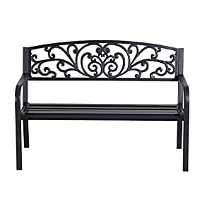"Patio Furniture 50"" Steel Garden Park Bench Deck Yard 2 Seat Chair"