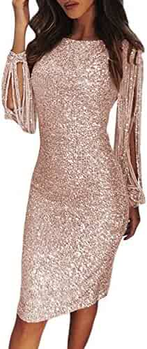 29a7bad5 Elapsy Womens Sexy Sequins Tassel Long Sleeve Party Cocktail Bodycon Dress