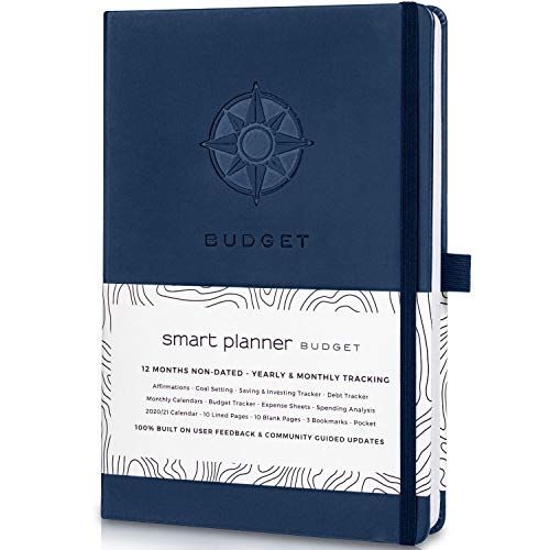 Smart Planner Budget Book - Budget Planner Organizer with Calendars, Debt Tracker, Expense Sheets, Savings Trackers and More - Inner Pocket for Receipts - Non-Dated Personal Financial Planner