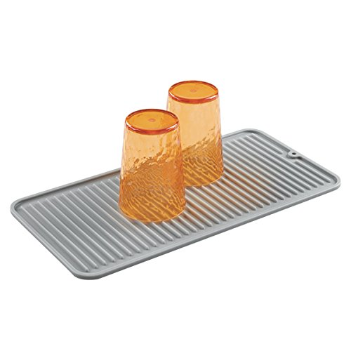 mDesign Silicone Dish Drying Mat and Protector for Kitchen C