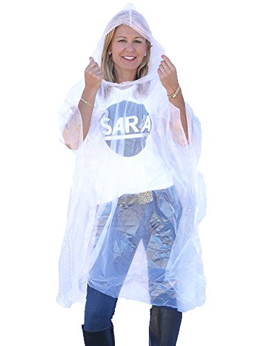 (Sara Glove Emergency Disposable Rain Ponchos (Sold in Packs of 10 and 200) (Clear, 10 Pack))