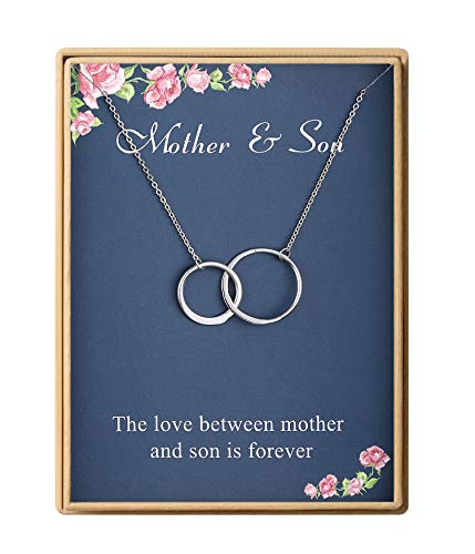 Birthday Gifts Mom Delicate Two Interlocking Infinity Double Circles Sterling Silver Mother Son Necklace for Women Mother's Day Gifts