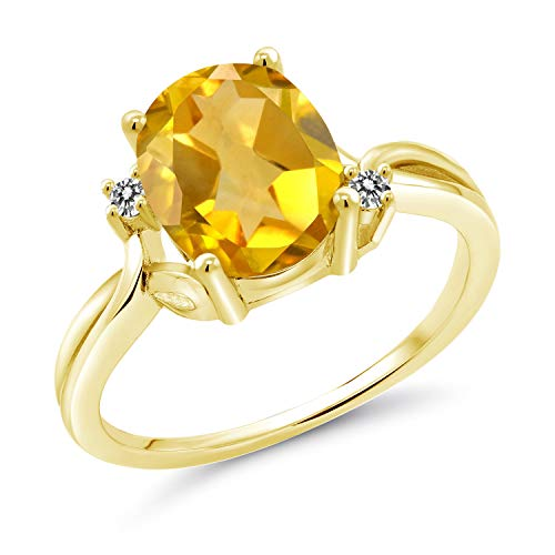 Gem Stone King 203 Ct Oval Yellow Citrine White Diamond 14K Yellow Gold Ring Size 7