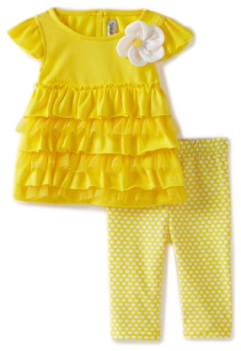 Youngland Baby Girls' Knit Short Sleeve Dress With Tiers And Knit Ankle Length Legging