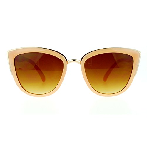 SA106 Runway Fashion Metal Bridge Trim Oversized Cat Eye Sunglasses Peach - Eye Cat Gold