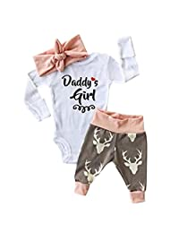 YJM Baby Girl Romper Bodysuit+Pants Hairband Clothes Outfits Set
