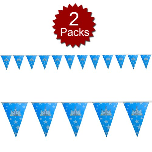 (Price/2 Packs)Aspire Prince Pennant Banner, Baby Shower Party Paper Flags