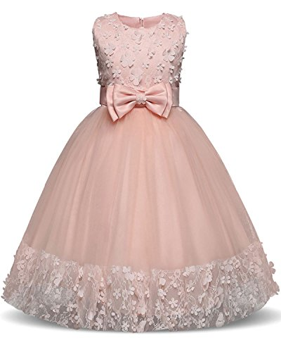 Designs Satin Flower Girl Dress - TTYAOVO Girl Princess Flower Bowknot Lace Baby Girls Wedding Christmas Party Dress Size 7-8 Years Pink
