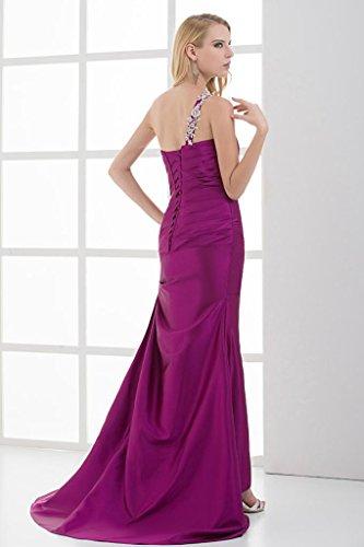 Rueschen Meerjungfrau GEORGE ein BRIDE Elegante Schulter besetztes Lila Kleid x7WqSfa