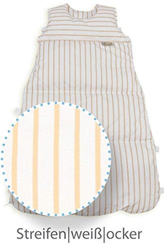 ARO Artländer 87573 Wickel-Daunenschlafsack 80 cm reduzierbar auf 70 cm und 60 cm, Streifen - weiß/ocker Design